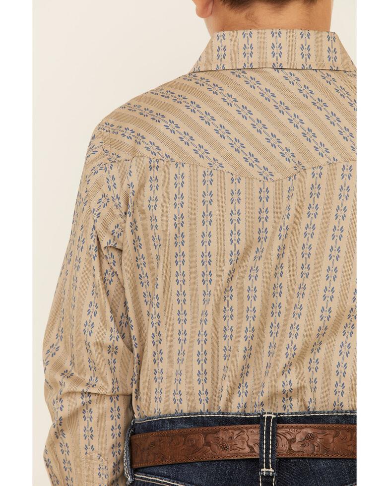 Cody James Boys' Canyon Flower Striped Long Sleeve Western Shirt , Tan, hi-res
