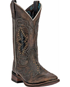 Laredo Spellbound Cowgirl Boots - Square Toe, Brown, hi-res