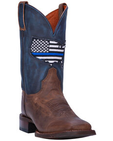 Dan Post Women's Thin Blue Line Cowgirl Boots - Square Toe, Sand, hi-res