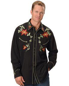 Scully Men's Floral Embroidered Vintage Long Sleeve Western Shirt, Black, hi-res