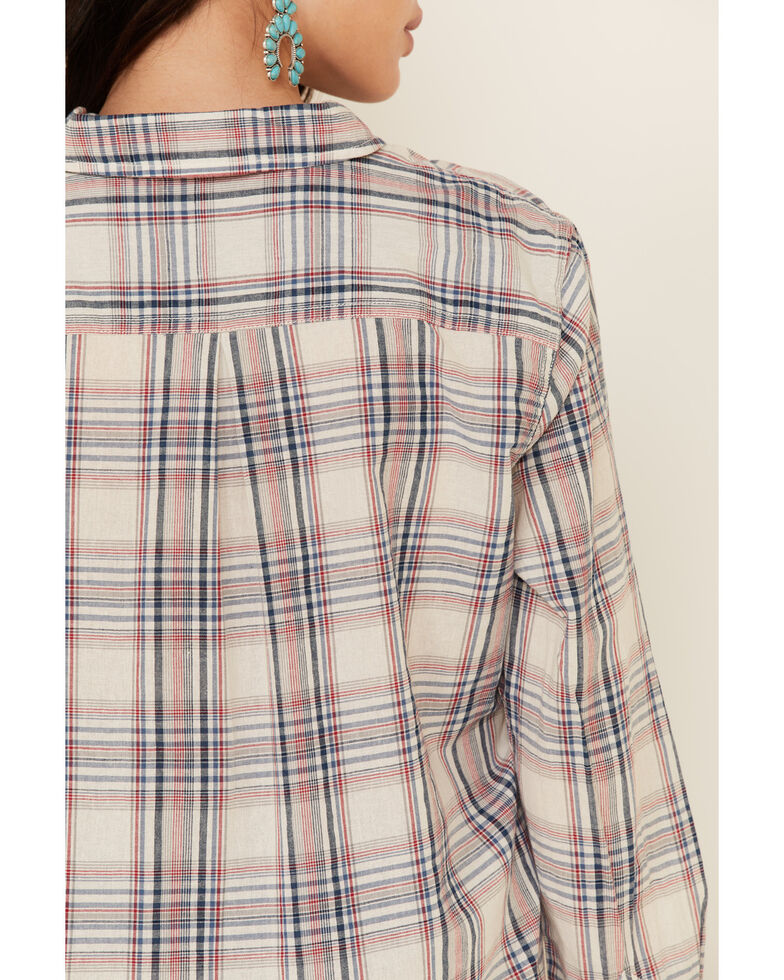 Flag & Anthem Women's Laurie Classic Plaid Long Sleeve Button-Down Western Core Shirt , Red/white/blue, hi-res