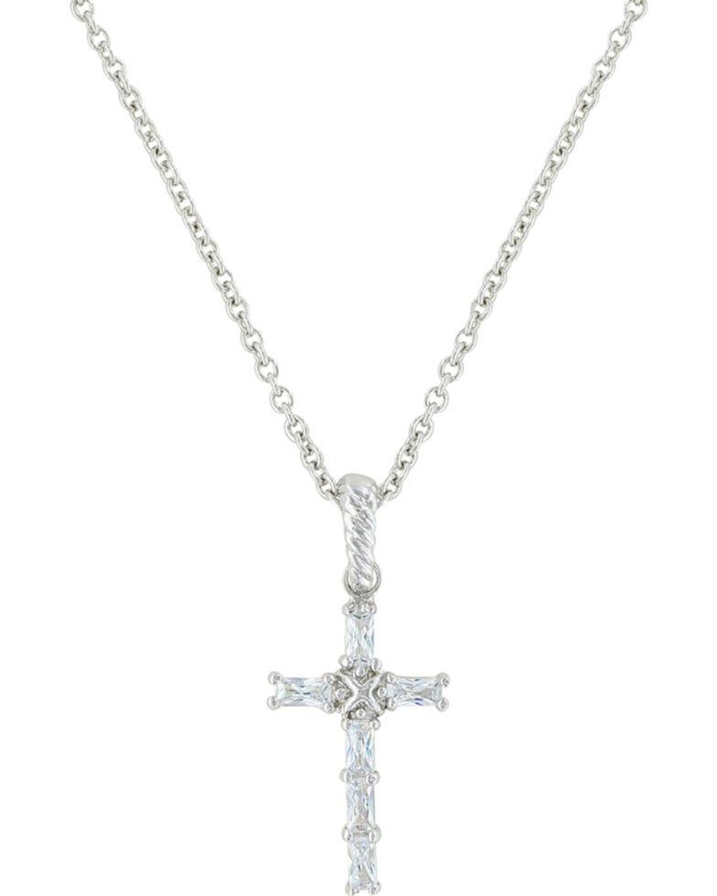 Montana Silversmiths Women's Acadian Cross Baguette Necklace , Silver, hi-res