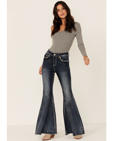 Grace in LA Women's Embroidered Flare Jeans, Blue, hi-res
