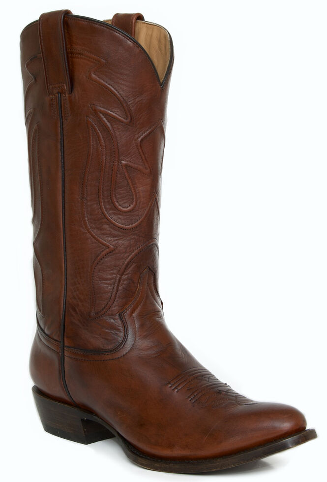 Stetson Men's Burnished Brown Leather Cowboy Boots - Round Toe, Brown, hi-res
