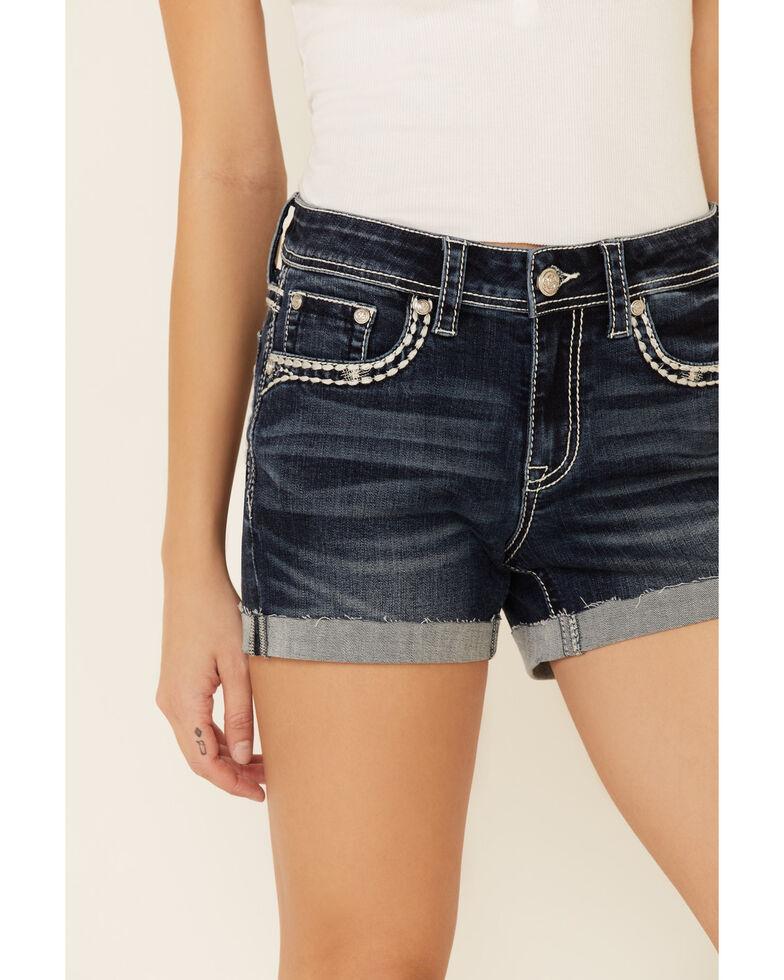 Grace in LA Women's Blue Rose Cuff Shorts, Blue, hi-res