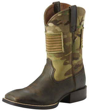 Ariat Men's Sport Patriot Camo Western Boots - Wide Square Toe, Brown, hi-res