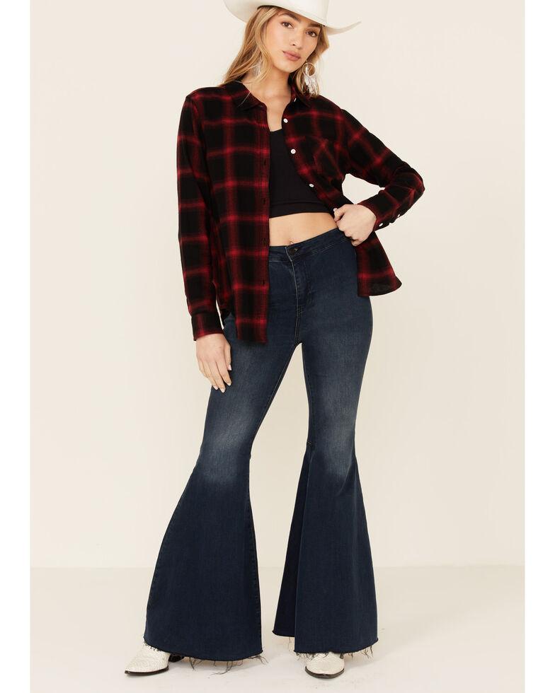 Flag & Anthem Women's Caretta Plaid Long Sleeve Button-Down Western Core Shirt , Red, hi-res