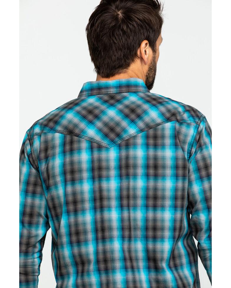 Moonshine Spirit Men's Cobalt Plaid Long Sleeve Western Shirt , Black/turquoise, hi-res