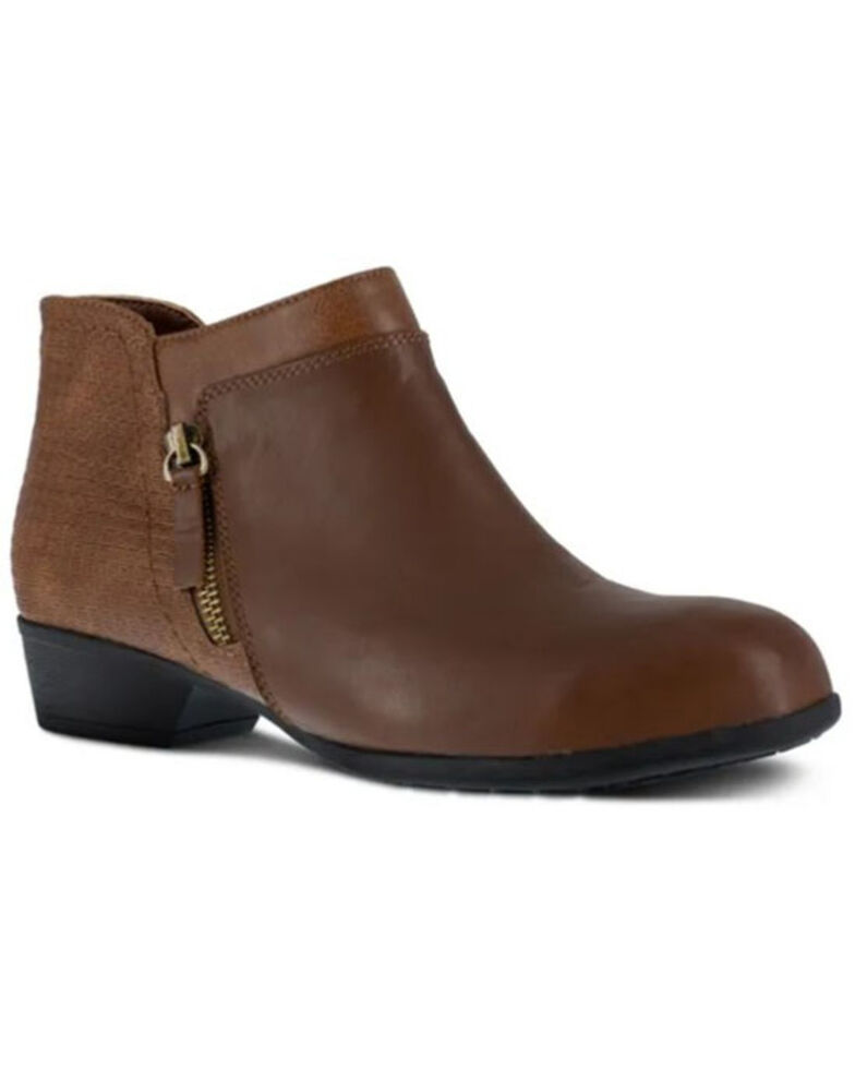Rockport Women's Carly Work Booties - Alloy Toe, Brown, hi-res