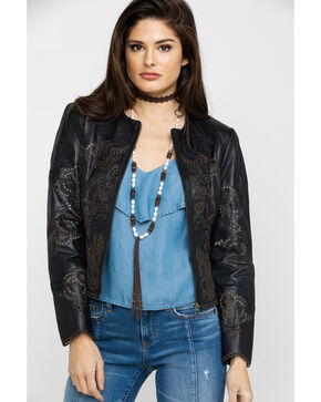 Scully Women's High Low Leather Jacket , Black, hi-res