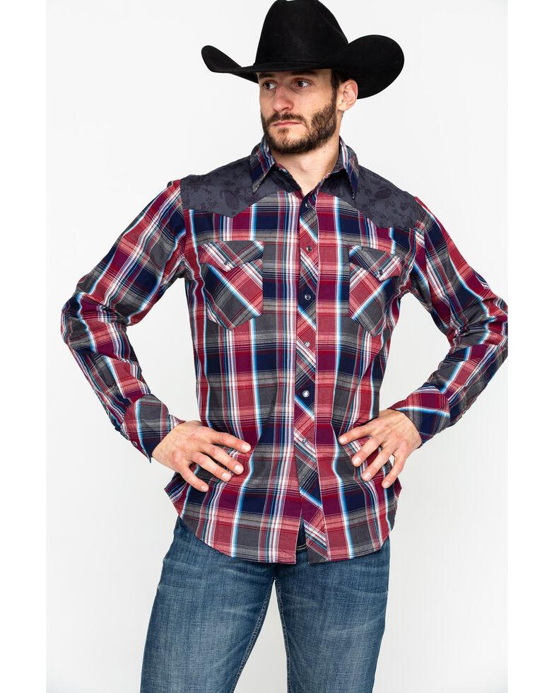 Roper Men's Plaid Paisley Flower Yolk Long Sleeve Western Shirt , Red, hi-res