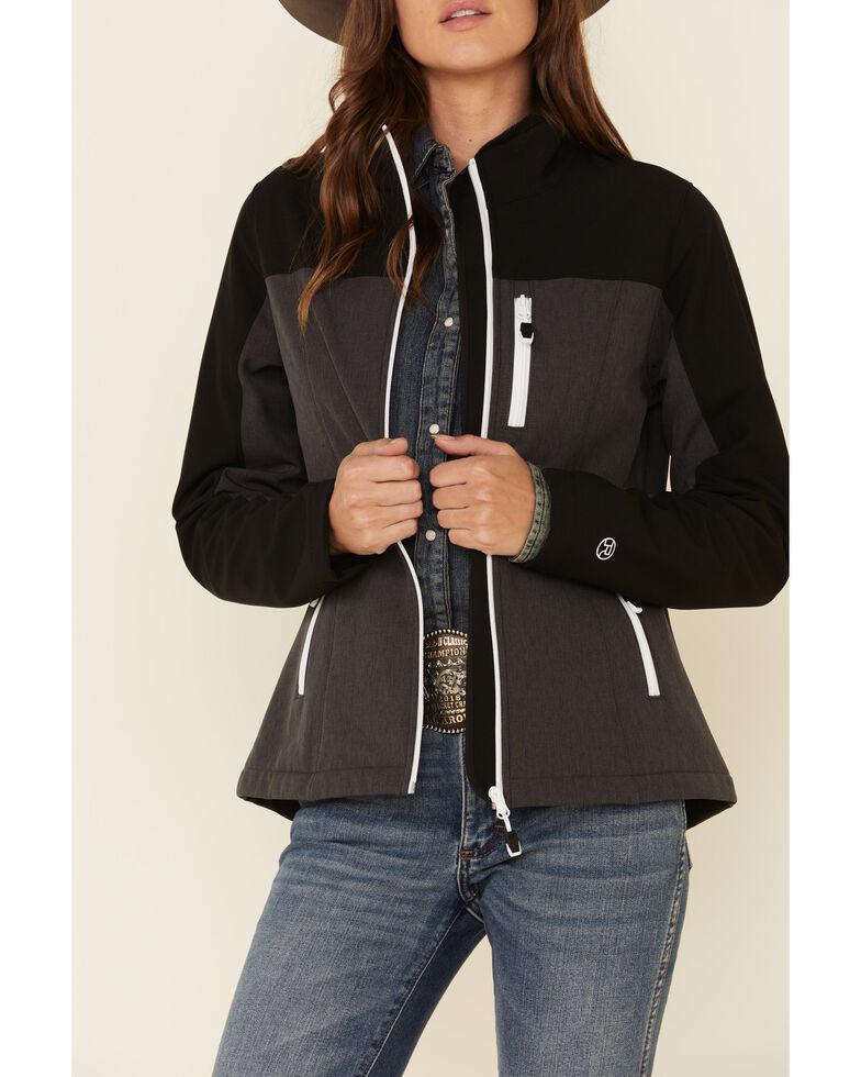 Roper Women's Black & Grey Soft Shell Bonded Fleece Lined Jacket , Black, hi-res