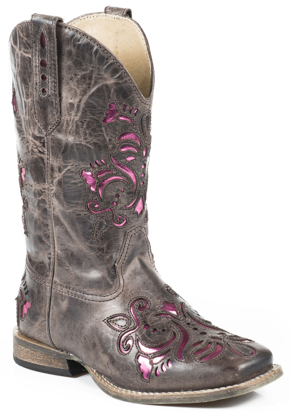 Roper Girls' Pink Belle Underlay Cowgirl Boots, Brown, hi-res