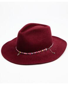 Shyanne Women's Burgundy Sienna Wool Felt Western Hat , Black, hi-res