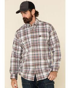 Wrangler Riggs Men's White Plaid Foreman Long Sleeve Work Shirt , White, hi-res