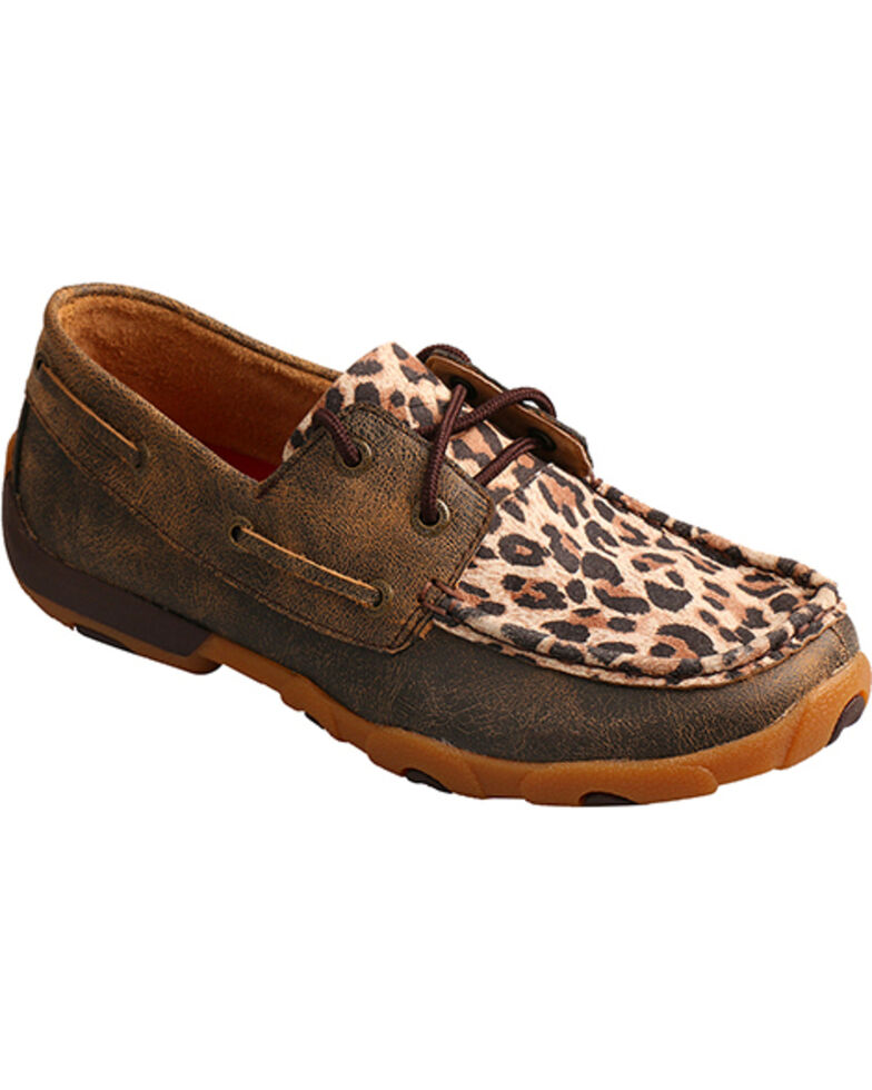 21e3a0b457feb Zoomed Image Twisted X Women's Cheetah Print Driving Moccasins - Moc Toe,  Leopard, hi-res