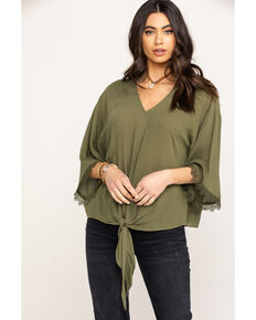 Ariat Women's Mai Tie Shirt, Olive, hi-res
