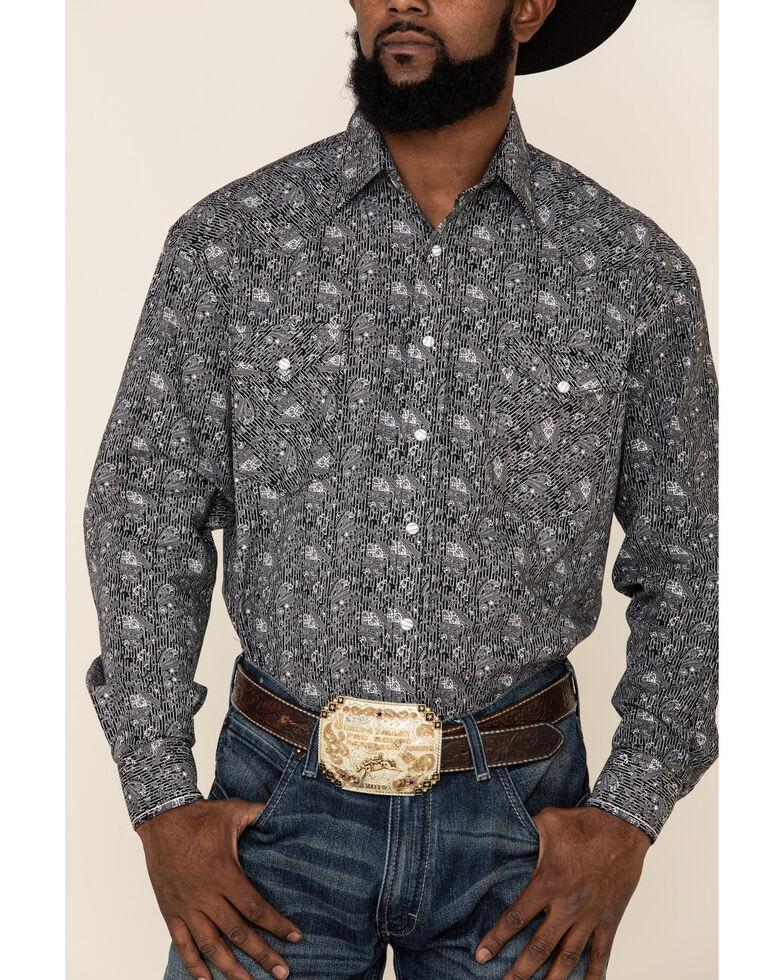 Rough Stock By Panhandle Men's Atalaya Stretch Paisley Print Long Sleeve Western Shirt, Black, hi-res