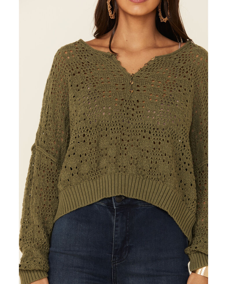 Patrons of Peace Women's Henley V-Neck Open Knit Sweater, Olive, hi-res
