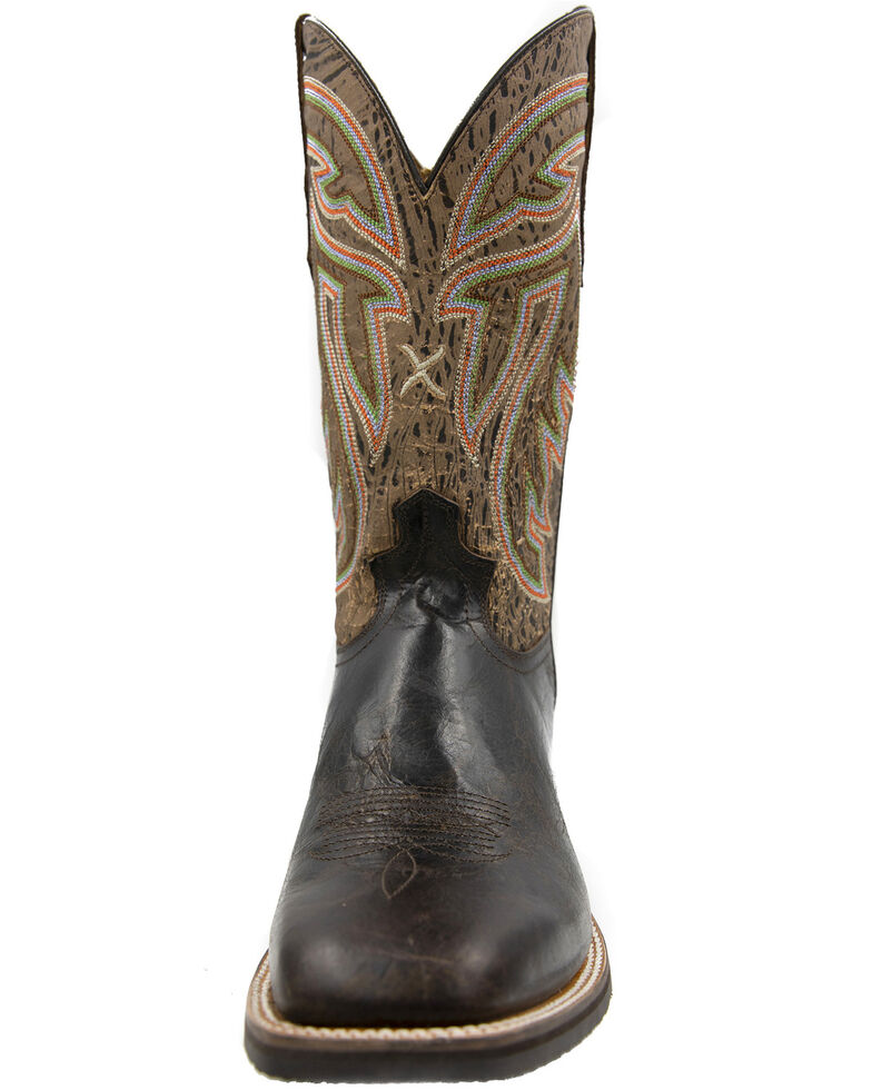 Twisted X Men's Silver Buckle Rancher Western Boots - Wide Square Toe, Chocolate, hi-res