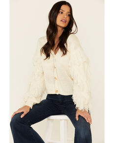 Sadie & Sage Women's Switch Swish Fringe Sleeve Sweater, Ivory, hi-res
