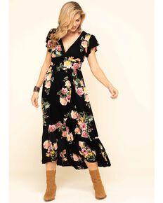 Band of Gypsies Women's Black Floral Print Maxi Dress, Black, hi-res