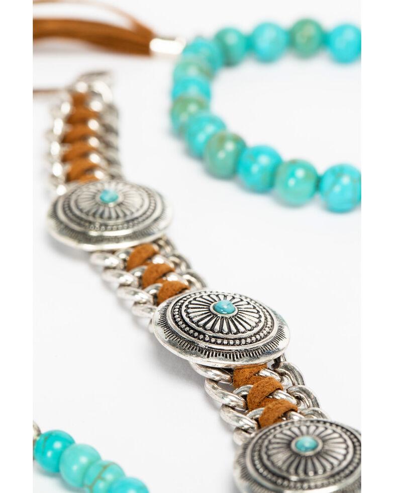 Shyanne Women's Sedona Spice Concho and Bead Bracelet Set, Silver, hi-res
