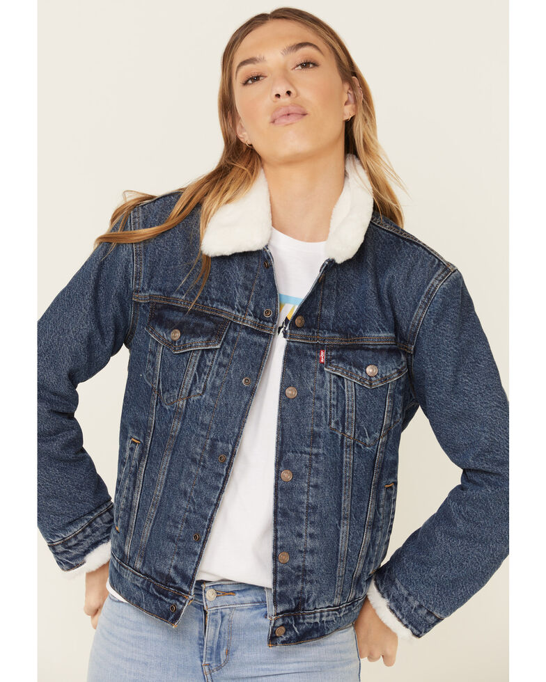 Levi's Women's Fur Lined Medium Wash Denim Jacket  , Blue, hi-res