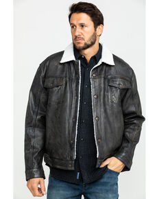 01d2fb5af8d32c Cripple Creek Men s Black Conceal Carry Sherpa Lined Leather Jacket