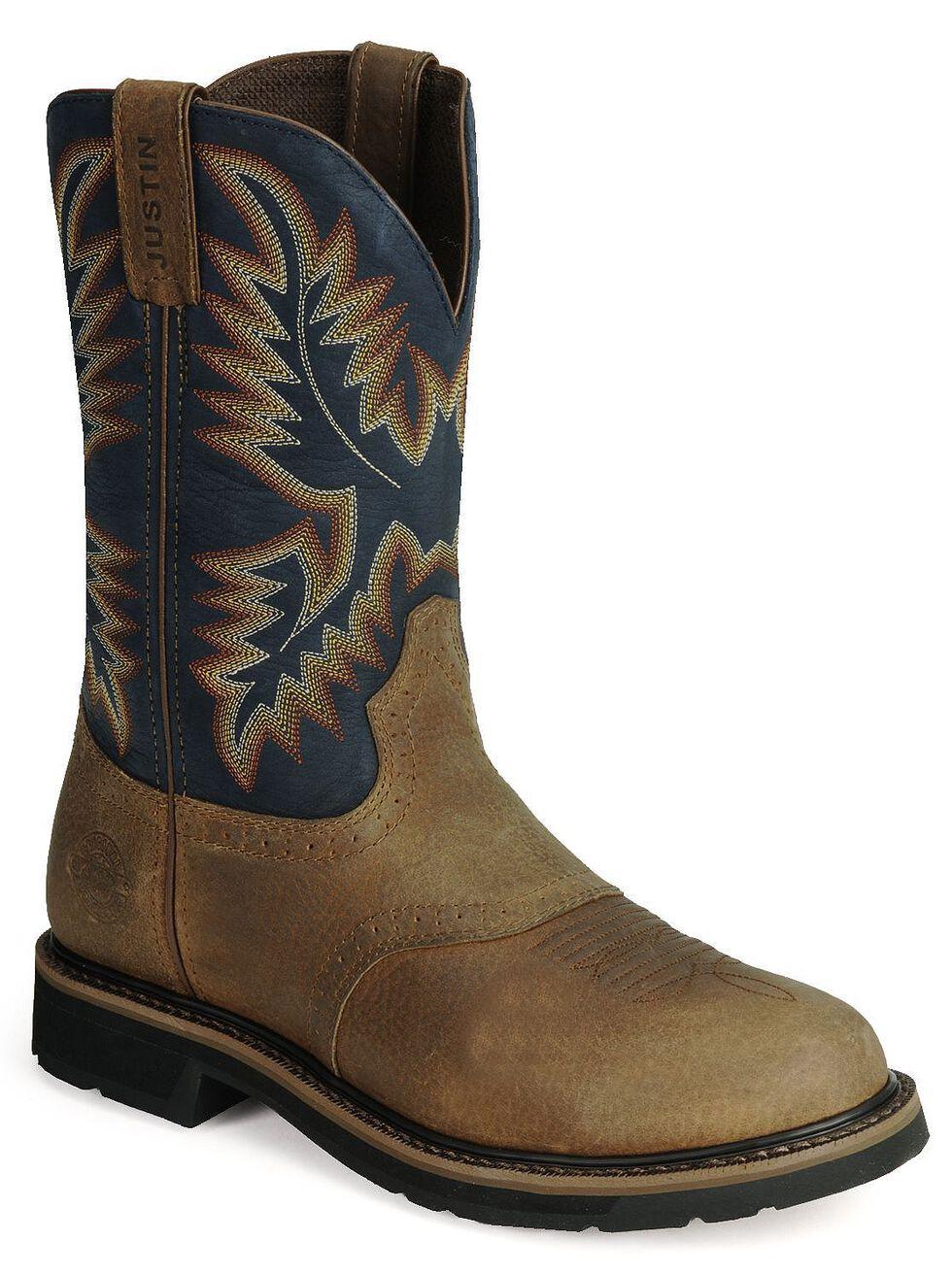 Justin Men's Stampede Superintendent Blue Work Boots - Soft Toe, Copper, hi-res