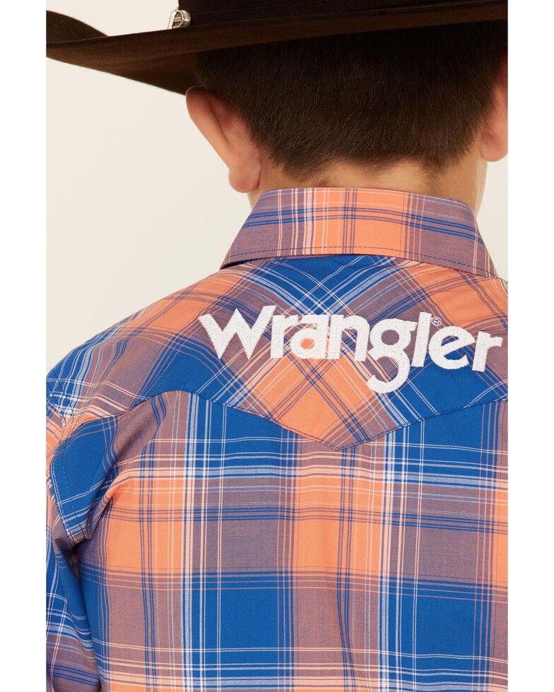 Wrangler Boys' Multi Plaid Logo Long Sleeve Snap Western Shirt , Multi, hi-res