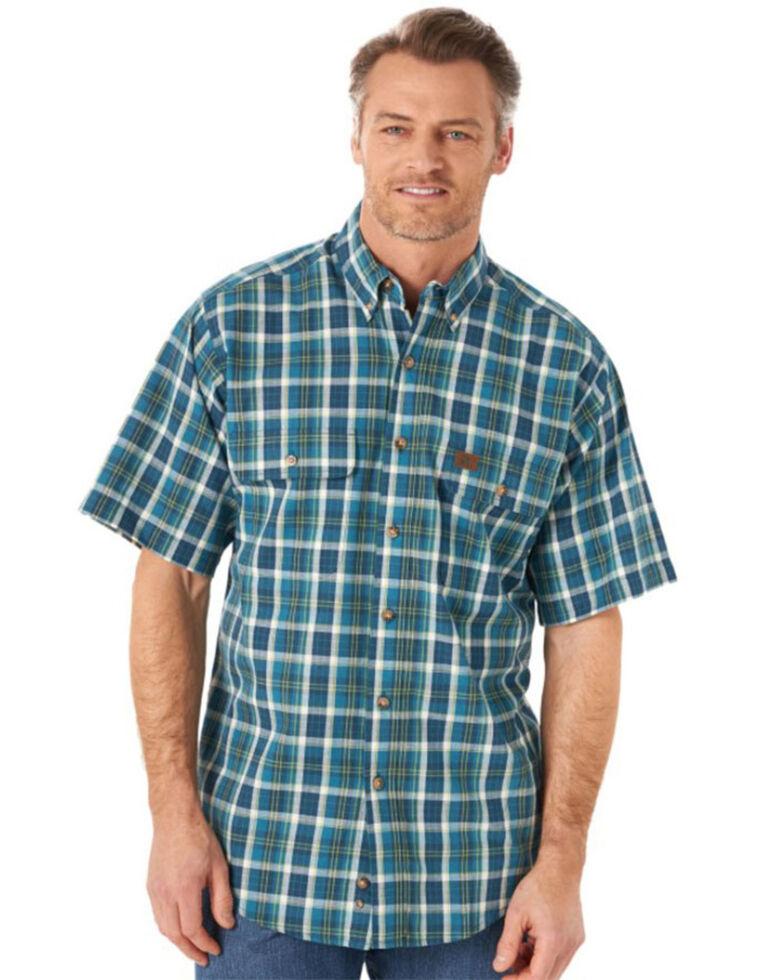 Wrangler Riggs Men's Blue Foreman Plaid Short Sleeve Button-Down Work Shirt - Tall , Blue, hi-res