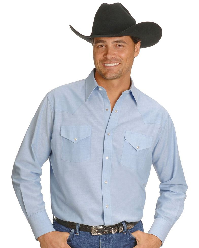 Ely Cattleman Men's Solid Oxford Long Sleeve Western Shirt - Big & Tall, Light Blue, hi-res