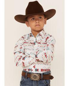 Rock & Roll Denim Boys' Ivory Aztec Print Long Sleeve Snap Western Shirt , Ivory, hi-res