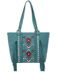 Montana West Women's Wrangler Floral Tote Bag, Turquoise, hi-res