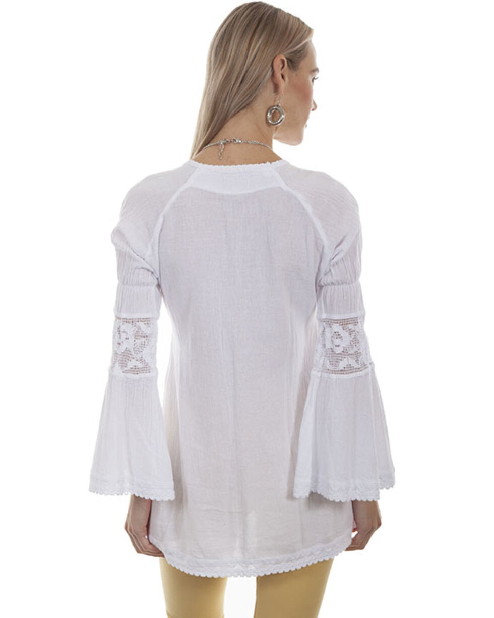 Cantina by Scully Women's White Crochet Bell Sleeve Top, White, hi-res