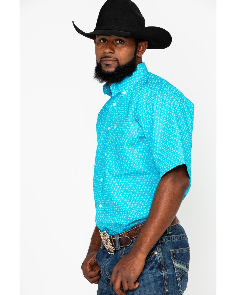 Ariat Men's Nevan Longhorn Print Short Sleeve Western Shirt, Blue, hi-res