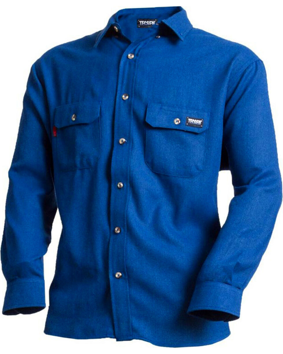 Tecgen Men's Blue FR Deluxe Long Sleeve Shirt , Royal Blue, hi-res
