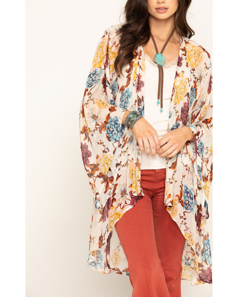 Band of Gypsies Women's Ivory Floral Chiffon Kimono , Ivory, hi-res