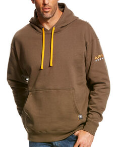 Ariat Men's Morel Rebar Logo Hoodies, Brown, hi-res