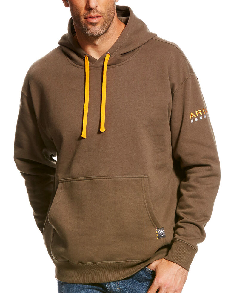Ariat Men's Morel Rebar Logo Hoodies, Brown, hi-res