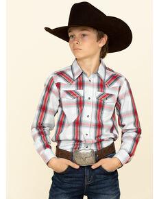 Cody James Boys' Rough Talk Plaid Long Sleeve Western Shirt , Red, hi-res