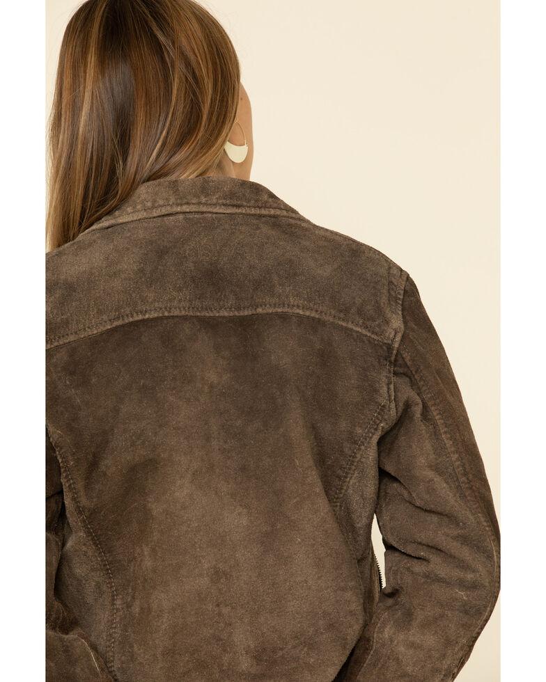 STS Ranchwear Women's Loretta Suede Moto Jacket, Chocolate, hi-res