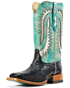 Ariat Women's Silverado Full-Quill Ostrich Western Boots - Wide Square Toe, Black, hi-res