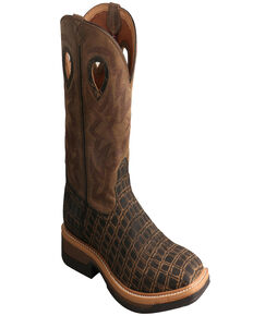 Twisted X Men's Lite Alloy Western Work Boots - Square Toe, Black, hi-res