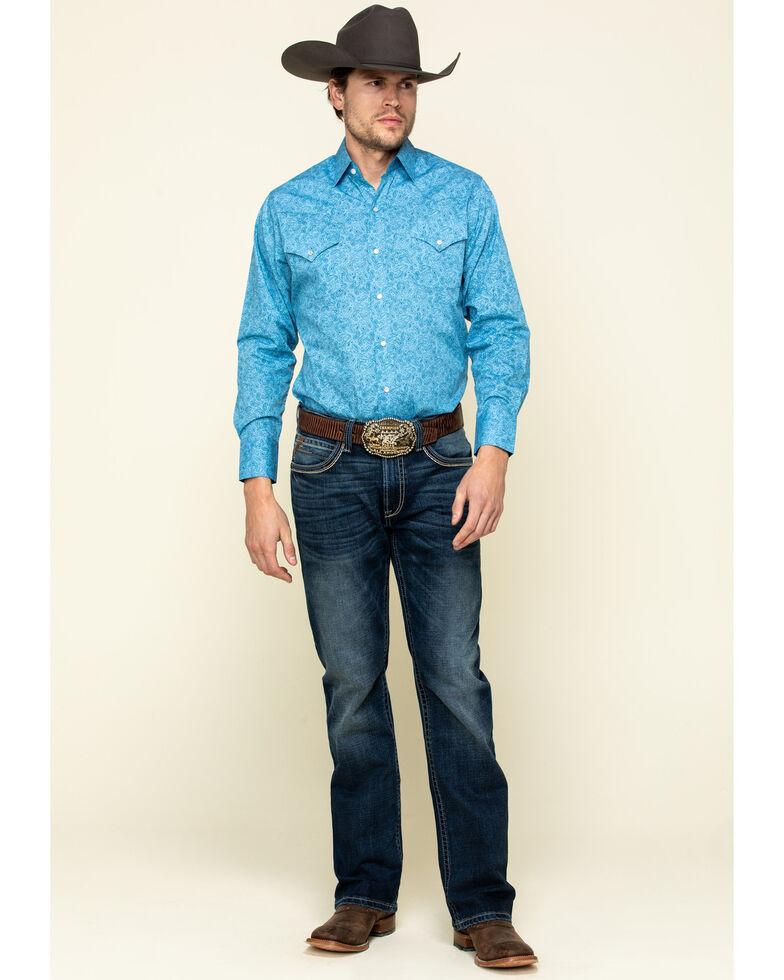 Ely Cattleman Men's Blue Paisley Print Long Sleeve Western Shirt , , hi-res
