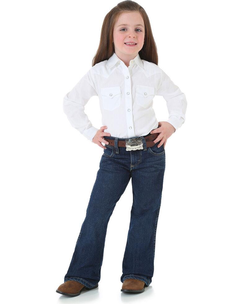Wrangler Girls' Premium Patch Bootcut Jeans, Blue, hi-res