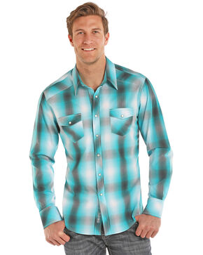 Rock & Roll Cowboy Men's Teal Ombre Plaid Long Sleeve Shirt , Turquoise, hi-res