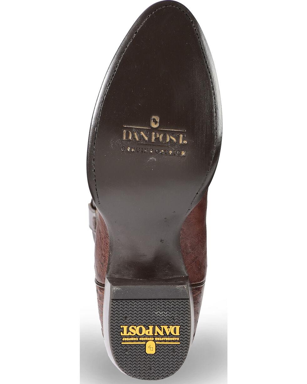 Dan Post Men's Brass Ostrich Leg Cowboy Boots - Medium Toe , Dark Brown, hi-res