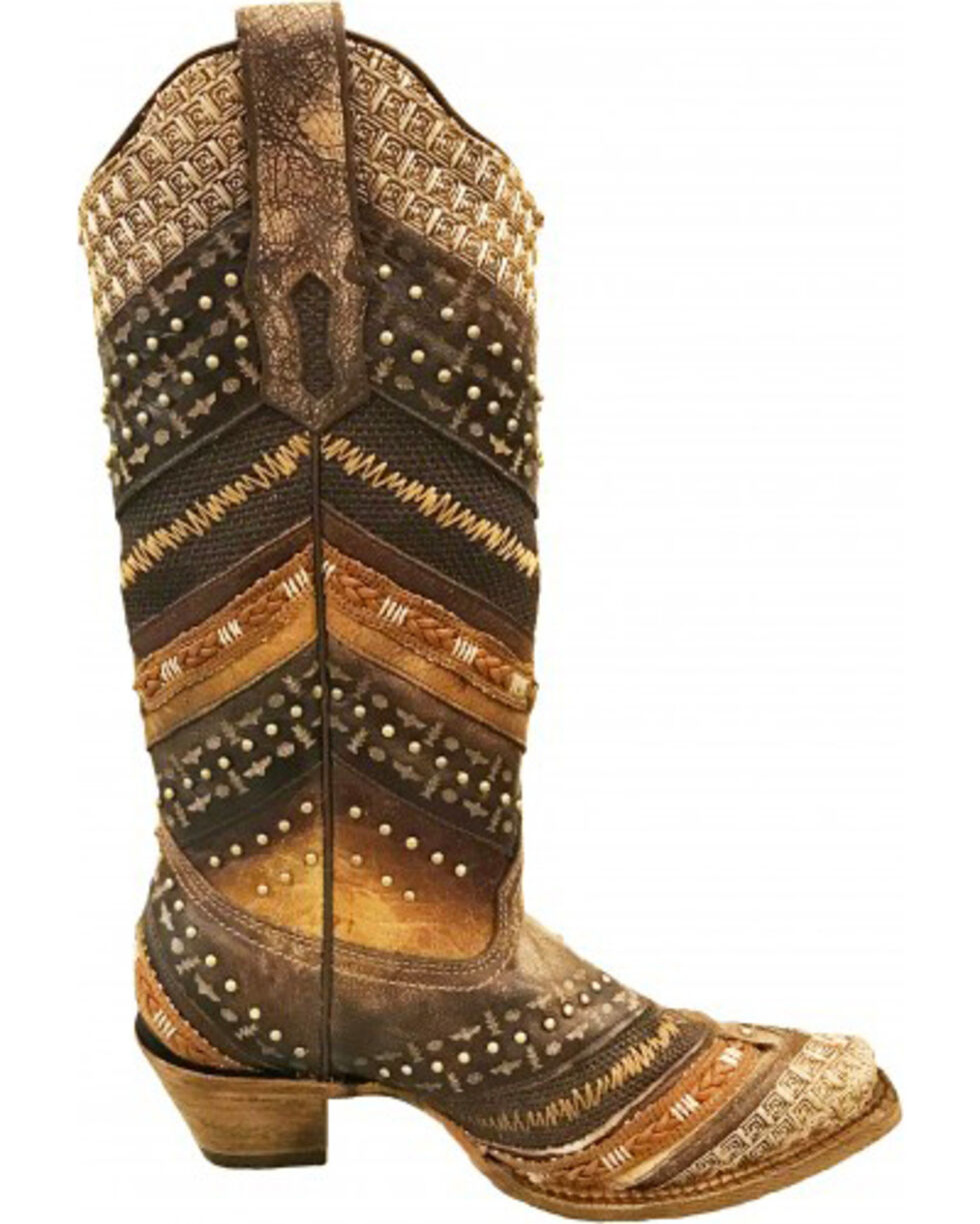 Corral Women's Chevron Embroidered and Studs Cowgirl Boots - Snip Toe, Brown, hi-res